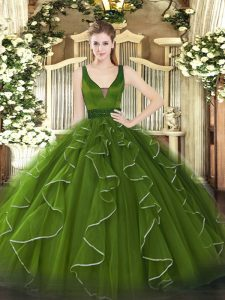 High Class Olive Green Sleeveless Beading and Ruffles Floor Length Sweet 16 Dresses