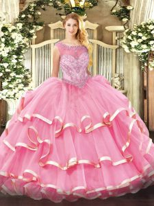 Beading and Ruffled Layers Sweet 16 Dresses Rose Pink Zipper Sleeveless Floor Length
