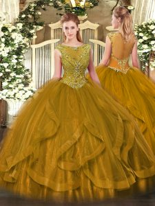 Graceful Brown Ball Gowns Tulle Scoop Sleeveless Beading Floor Length Zipper Quinceanera Dresses