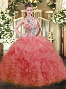 Sexy Beading 15 Quinceanera Dress Watermelon Red Lace Up Sleeveless Floor Length