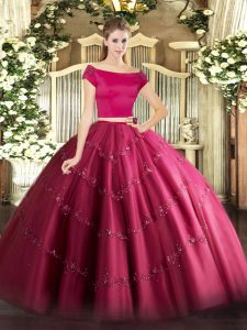 Enchanting Tulle Short Sleeves Floor Length Quinceanera Dress and Appliques