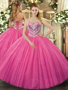 Glamorous Hot Pink Lace Up Quinceanera Gowns Beading Sleeveless Floor Length