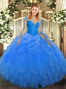 Enchanting Scoop Long Sleeves Lace Up Quinceanera Gowns Blue Organza