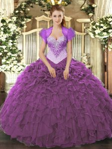 Wonderful Floor Length Lace Up Quinceanera Gown Eggplant Purple for Military Ball and Sweet 16 and Quinceanera with Beading and Ruffles