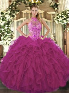 Customized Fuchsia Halter Top Lace Up Beading and Embroidery and Ruffles Quince Ball Gowns Sleeveless