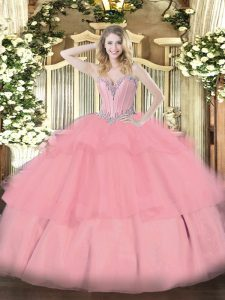 Discount Beading and Ruffled Layers Sweet 16 Quinceanera Dress Baby Pink Lace Up Sleeveless Floor Length