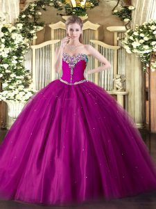 Fuchsia Lace Up Sweetheart Beading Vestidos de Quinceanera Tulle Sleeveless