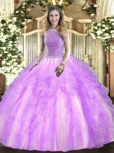 Lavender Ball Gowns Beading and Ruffles Quinceanera Gown Lace Up Tulle Sleeveless Floor Length