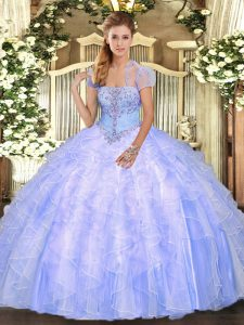Light Blue Strapless Neckline Appliques and Ruffles Ball Gown Prom Dress Sleeveless Lace Up