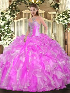Lilac Sweetheart Lace Up Beading and Ruffles Sweet 16 Dresses Sleeveless