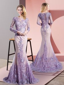 Popular Lavender Zipper Dress for Prom Beading and Appliques Long Sleeves Sweep Train