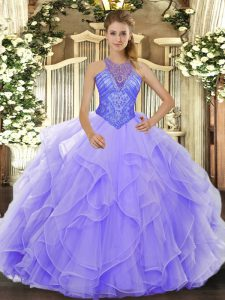 Sleeveless Floor Length Beading and Ruffles Lace Up 15th Birthday Dress with Lavender