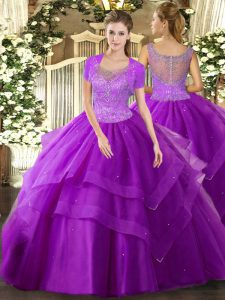 Adorable Eggplant Purple Clasp Handle Scoop Beading and Ruffles 15th Birthday Dress Tulle Sleeveless
