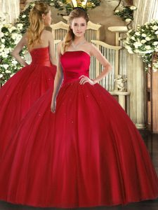 High Quality Red Sleeveless Floor Length Ruching Lace Up 15th Birthday Dress