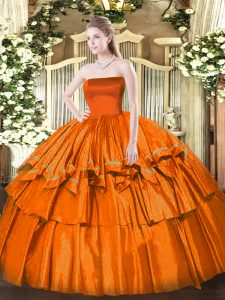 Sweet Orange Red Ball Gowns Ruffled Layers Quinceanera Dress Zipper Organza Sleeveless Floor Length