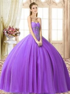 Extravagant Eggplant Purple Sleeveless Tulle Lace Up 15th Birthday Dress for Military Ball and Sweet 16 and Quinceanera