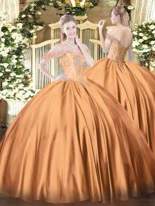 Sleeveless Floor Length Beading Lace Up Quinceanera Dresses with Rust Red