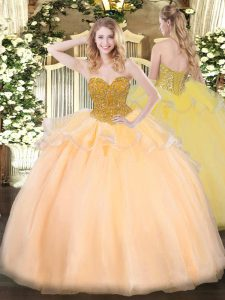 Romantic Orange Red Ball Gown Prom Dress Military Ball and Sweet 16 and Quinceanera with Beading Sweetheart Sleeveless Lace Up