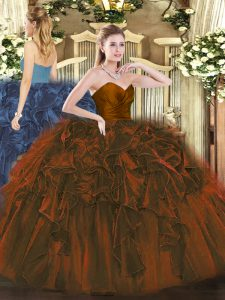Floor Length Zipper Ball Gown Prom Dress Brown for Military Ball and Sweet 16 and Quinceanera with Ruffles