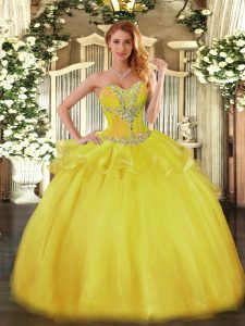 Fashionable Gold Sweetheart Neckline Beading Quinceanera Gowns Sleeveless Lace Up