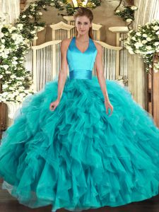 On Sale Turquoise Lace Up Halter Top Ruffles Quince Ball Gowns Organza Sleeveless