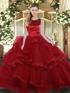 High End Wine Red Sleeveless Ruffled Layers Floor Length Sweet 16 Dresses