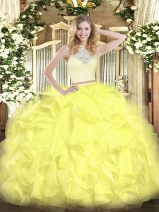 Fashion Sleeveless Floor Length Lace and Ruffles Zipper Sweet 16 Quinceanera Dress with Yellow