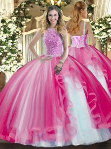 Customized High-neck Sleeveless Tulle Quince Ball Gowns Beading and Ruffles Lace Up