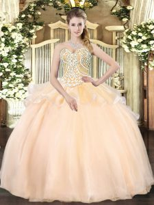 Sleeveless Organza Floor Length Lace Up 15 Quinceanera Dress in Champagne with Beading