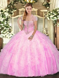 Rose Pink Tulle Lace Up Strapless Sleeveless Floor Length Quince Ball Gowns Appliques and Ruffles