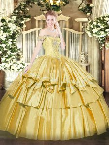 Sleeveless Floor Length Beading and Ruffled Layers Lace Up Quinceanera Gown with Gold