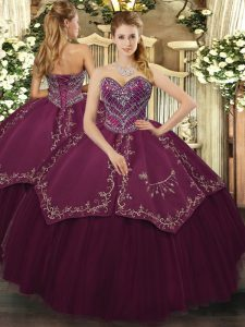 Affordable Burgundy Sweetheart Neckline Beading and Pattern Quinceanera Gowns Sleeveless Lace Up