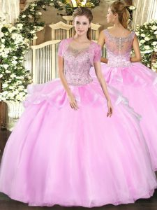 Fancy Baby Pink Ball Gowns Beading and Ruffles Quinceanera Gowns Clasp Handle Tulle Sleeveless Floor Length