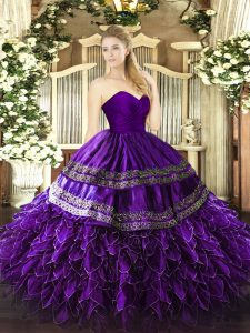 Purple Organza and Taffeta Zipper Sweet 16 Dress Sleeveless Floor Length Embroidery and Ruffles