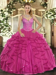 Floor Length Hot Pink Quince Ball Gowns Tulle Sleeveless Beading and Ruffles