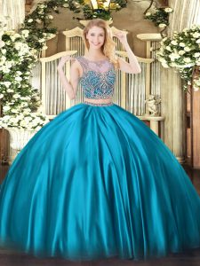 Charming Two Pieces Quinceanera Gowns Baby Blue Scoop Satin Sleeveless Floor Length Lace Up