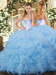Blue Sweet 16 Quinceanera Dress Organza Sleeveless Beading and Ruffles and Pick Ups