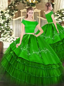 Short Sleeves Embroidery and Ruffled Layers Zipper Quinceanera Gowns