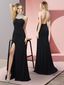 Floor Length Column/Sheath Sleeveless Black Prom Dresses Backless