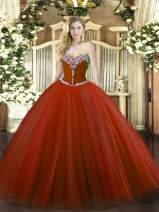 Super Rust Red Sleeveless Tulle Lace Up 15th Birthday Dress for Military Ball and Sweet 16 and Quinceanera