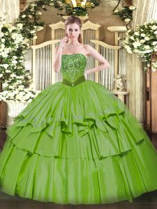 Beading and Ruffled Layers Vestidos de Quinceanera Lace Up Sleeveless Floor Length