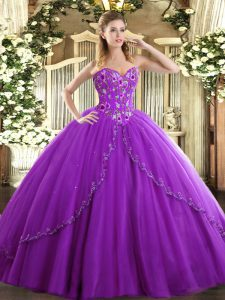 Eggplant Purple Sweet 16 Quinceanera Dress Sweet 16 and Quinceanera with Appliques and Embroidery Sweetheart Sleeveless Brush Train Lace Up