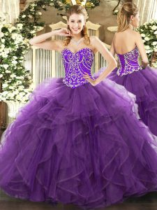 Eggplant Purple Sleeveless Beading and Ruffles Floor Length Vestidos de Quinceanera
