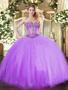 Elegant Lavender Tulle Lace Up Quinceanera Gown Sleeveless Floor Length Beading
