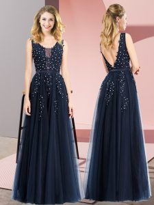 Navy Blue Tulle Backless Sleeveless Floor Length Beading and Appliques