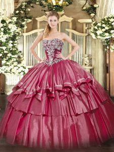 Custom Fit Ball Gowns 15 Quinceanera Dress Hot Pink Strapless Organza and Taffeta Sleeveless Floor Length Lace Up
