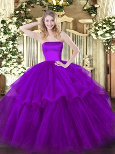 Purple Ball Gowns Ruffled Layers Quinceanera Dresses Zipper Tulle Sleeveless