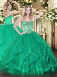 High End Sleeveless Floor Length Beading and Ruffles Lace Up 15th Birthday Dress with Turquoise