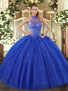 Floor Length Royal Blue Quinceanera Gowns Halter Top Sleeveless Lace Up