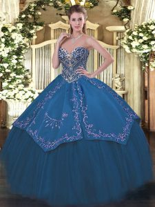Blue Lace Up Sweetheart Beading and Embroidery Ball Gown Prom Dress Taffeta and Tulle Sleeveless